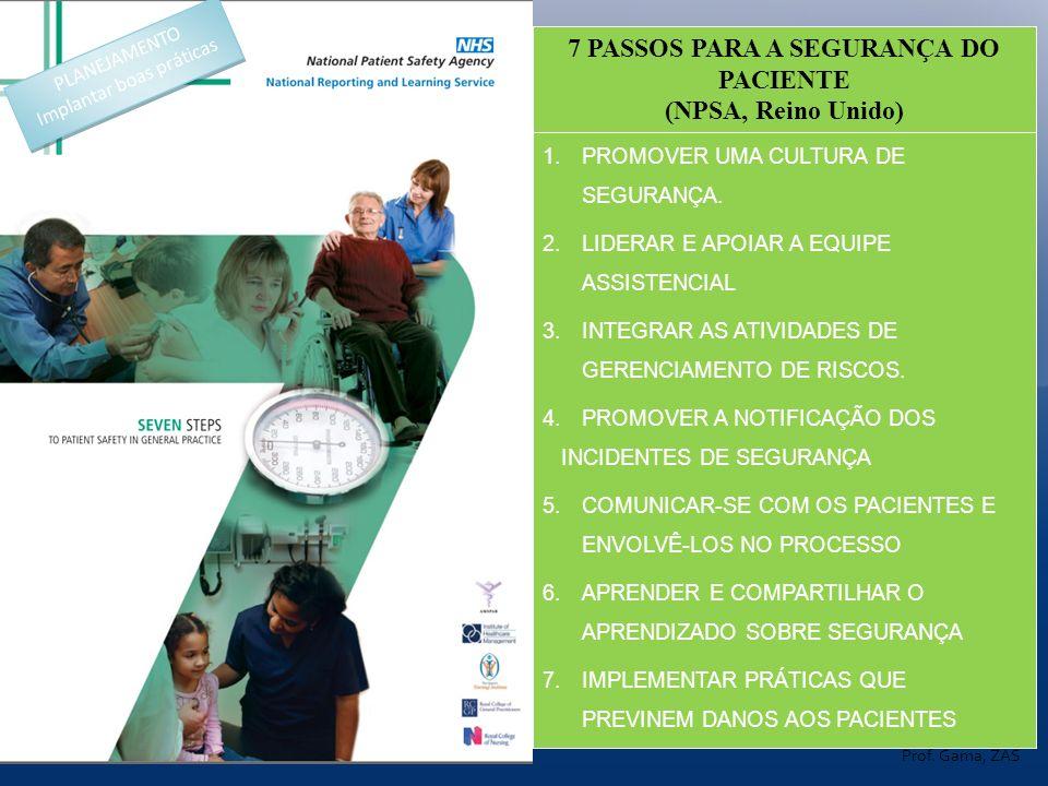 1.PROMOVER UMA CULTURA DE SEGURANÇA. 2.LIDERAR E APOIAR A EQUIPE ASSISTENCIAL 3.INTEGRAR AS ATIVIDADES DE GERENCIAMENTO DE RISCOS. 4.PROMOVER A NOTIFI