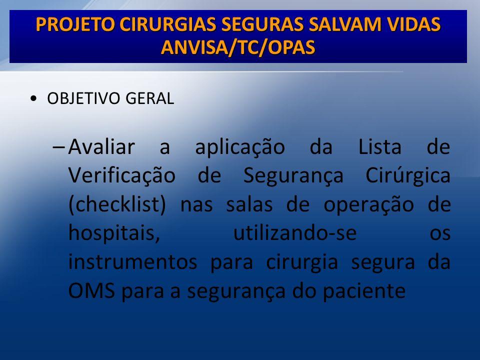 PROJETO CIRURGIAS SEGURAS SALVAM VIDAS ANVISA/TC/OPAS OBJETIVO GERAL –Avaliar a aplicação da Lista de Verificação de Segurança Cirúrgica (checklist) n