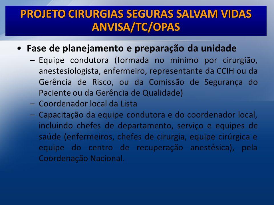 ANVISA/TC/OPAS Fase de planejamento e preparação da unidade –Equipe condutora (formada no mínimo por cirurgião, anestesiologista, enfermeiro, represen