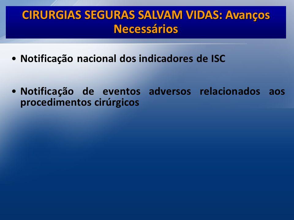 Notificação nacional dos indicadores de ISC Notificação de eventos adversos relacionados aos procedimentos cirúrgicos CIRURGIAS SEGURAS SALVAM VIDAS: