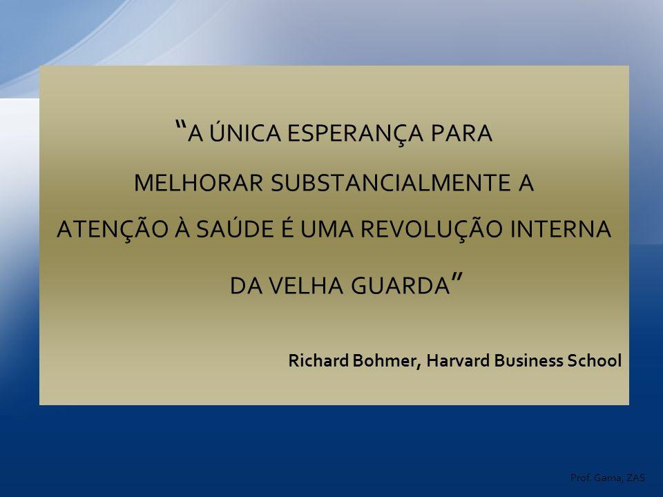 A ÚNICA ESPERANÇA PARA MELHORAR SUBSTANCIALMENTE A ATENÇÃO À SAÚDE É UMA REVOLUÇÃO INTERNA DA VELHA GUARDA Richard Bohmer, Harvard Business School Pro