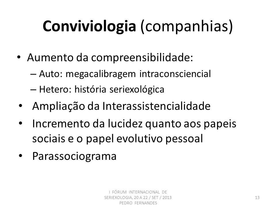 Conviviologia (companhias) Aumento da compreensibilidade: – Auto: megacalibragem intraconsciencial – Hetero: história seriexológica Ampliação da Inter