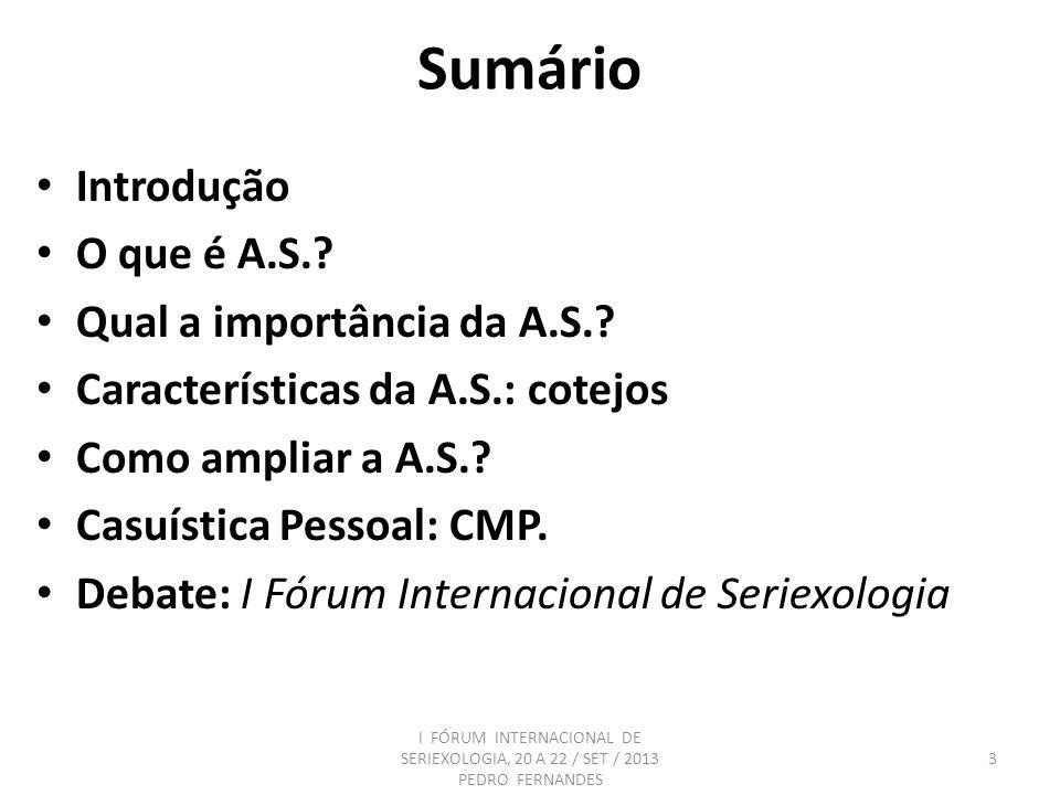 Sumário Introdução O que é A.S.? Qual a importância da A.S.? Características da A.S.: cotejos Como ampliar a A.S.? Casuística Pessoal: CMP. Debate: I