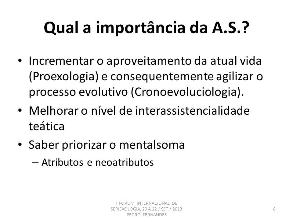 Qual a importância da A.S.? Incrementar o aproveitamento da atual vida (Proexologia) e consequentemente agilizar o processo evolutivo (Cronoevoluciolo