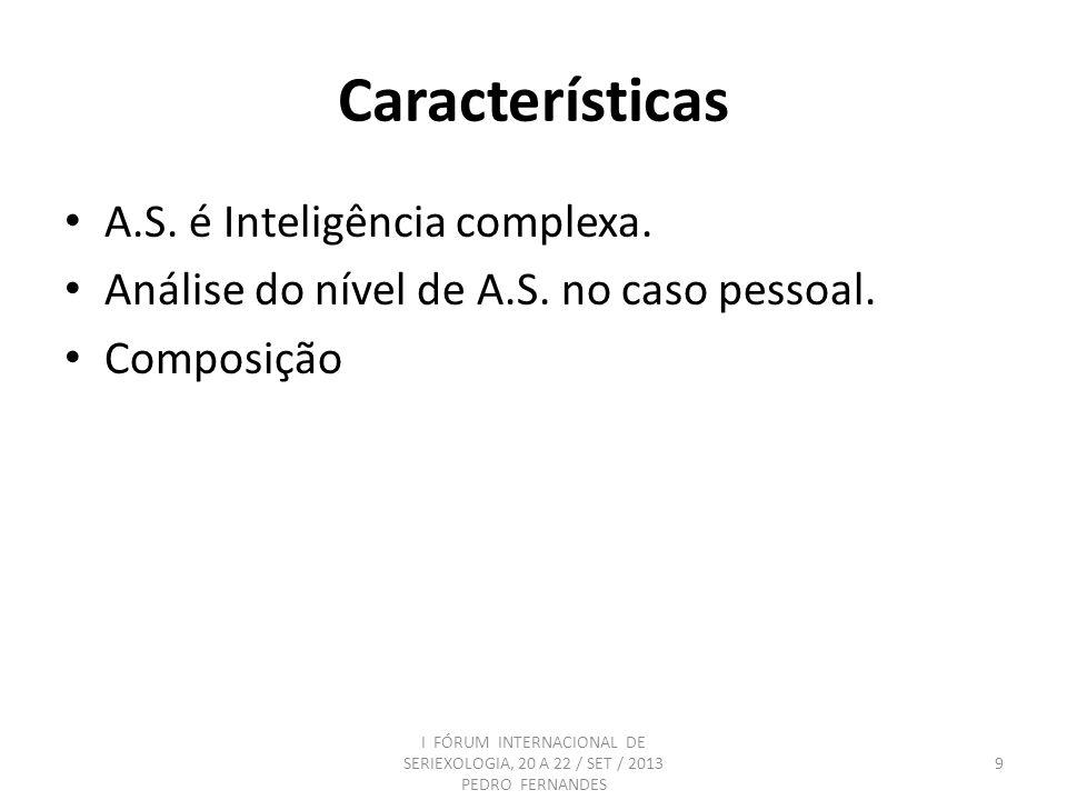 Características A.S. é Inteligência complexa. Análise do nível de A.S. no caso pessoal. Composição I FÓRUM INTERNACIONAL DE SERIEXOLOGIA, 20 A 22 / SE