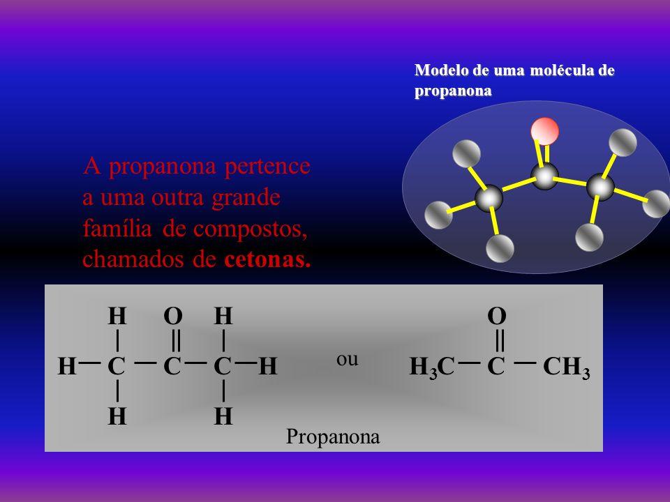 A propanona pertence a uma outra grande família de compostos, chamados de cetonas. H HC H C O C H H H ou H3H3 CCCH 3 O Propanona Modelo de uma molécul