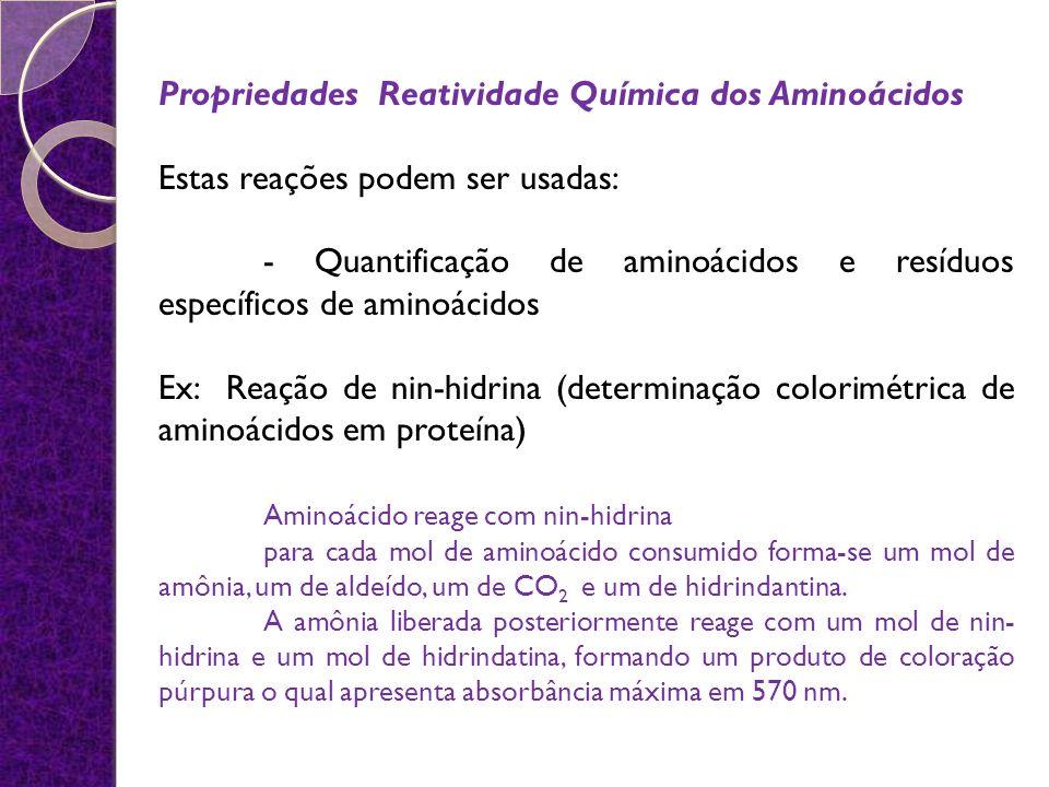 Propriedades Reatividade Química dos Aminoácidos Estas reações podem ser usadas: - Quantificação de aminoácidos e resíduos específicos de aminoácidos