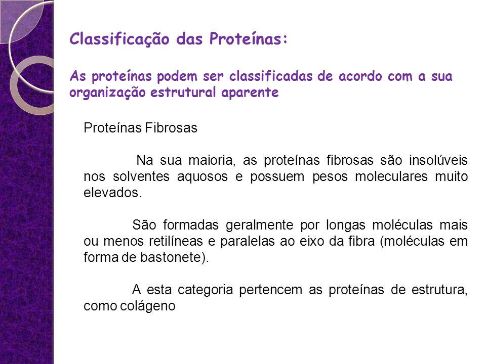 Proteínas Fibrosas Na sua maioria, as proteínas fibrosas são insolúveis nos solventes aquosos e possuem pesos moleculares muito elevados. São formadas