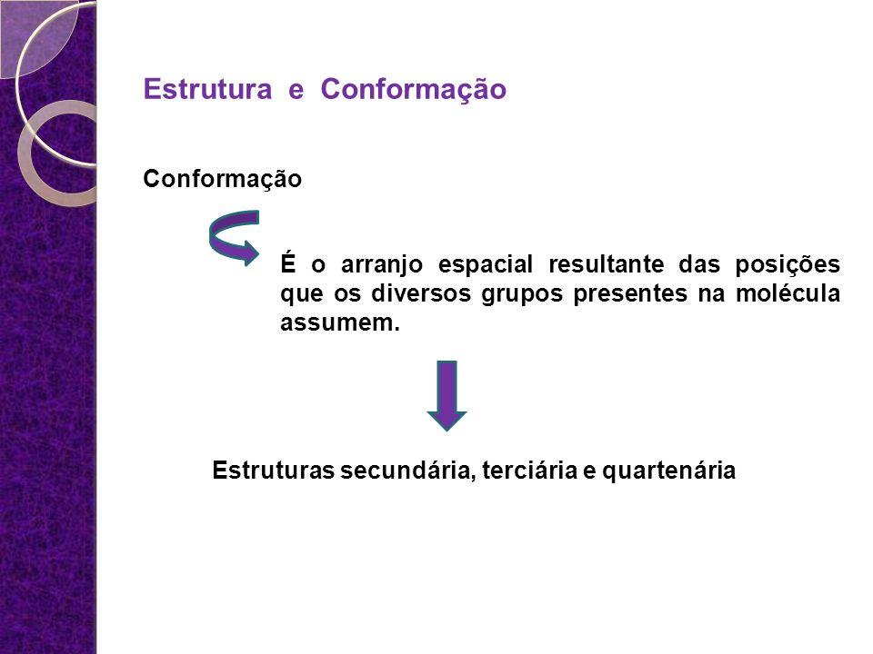 Estrutura e Conformação Conformação É o arranjo espacial resultante das posições que os diversos grupos presentes na molécula assumem. Estruturas secu