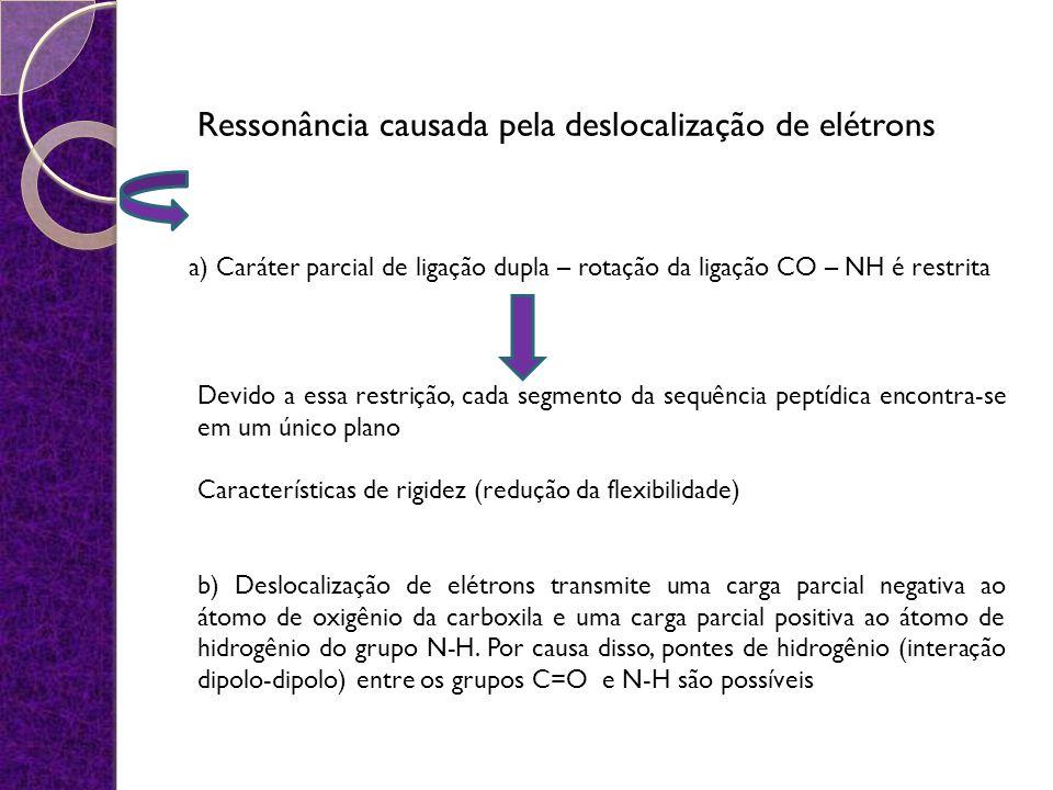 Ressonância causada pela deslocalização de elétrons a) Caráter parcial de ligação dupla – rotação da ligação CO – NH é restrita Devido a essa restriçã