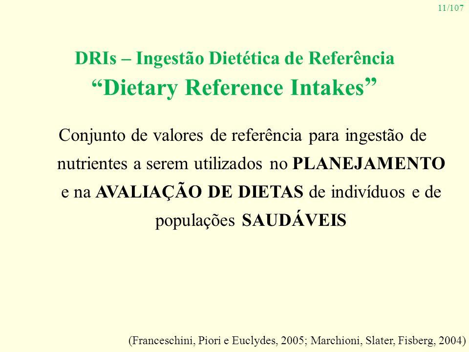 11/107 DRIs – Ingestão Dietética de Referência Dietary Reference Intakes Conjunto de valores de referência para ingestão de nutrientes a serem utiliza