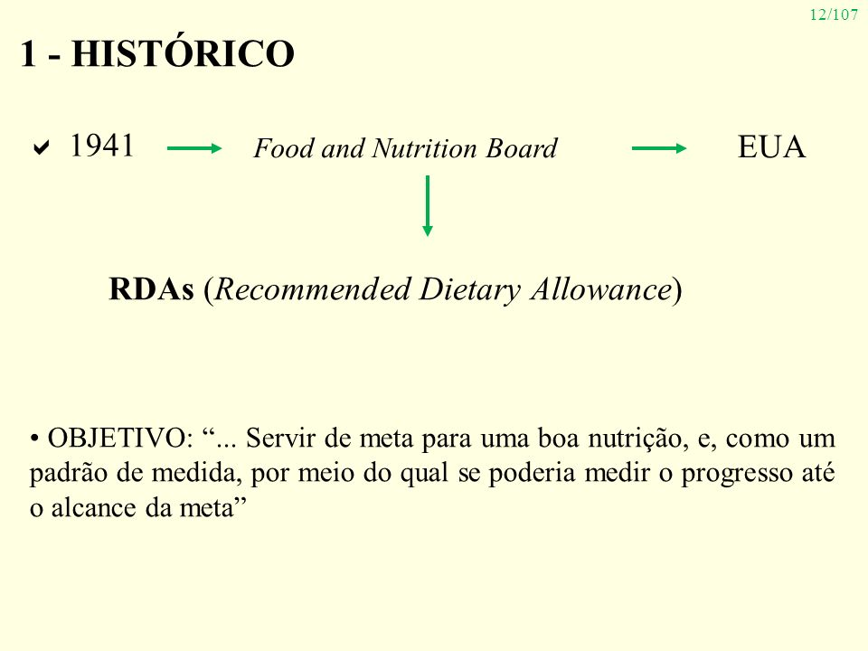 12/107 1941 Food and Nutrition Board 1 - HISTÓRICO OBJETIVO:... Servir de meta para uma boa nutrição, e, como um padrão de medida, por meio do qual se