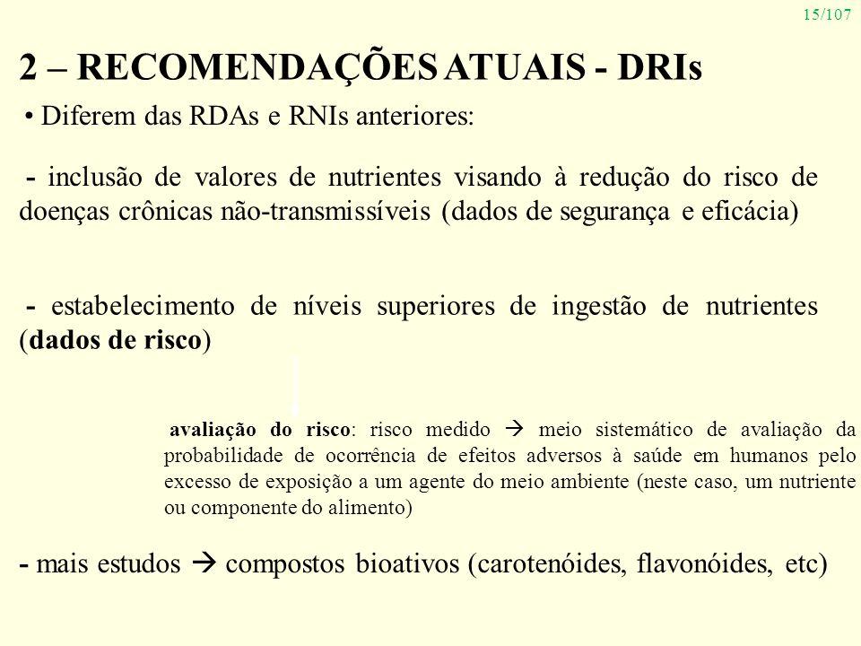 15/107 2 – RECOMENDAÇÕES ATUAIS - DRIs Diferem das RDAs e RNIs anteriores: - inclusão de valores de nutrientes visando à redução do risco de doenças c