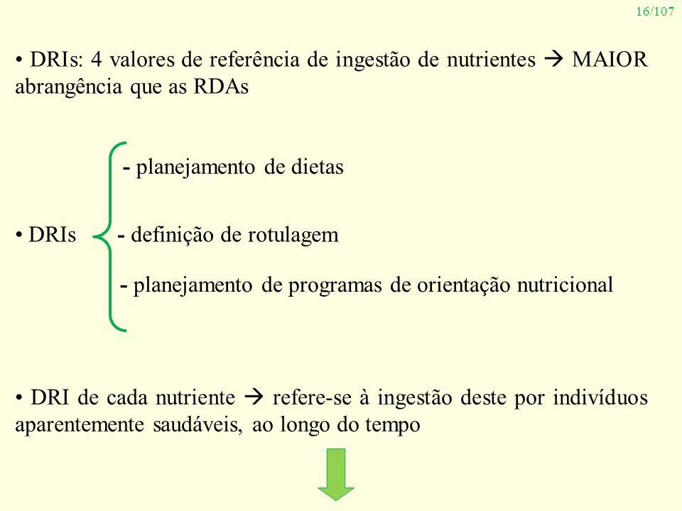 16/107 DRIs: 4 valores de referência de ingestão de nutrientes MAIOR abrangência que as RDAs DRIs - planejamento de dietas - definição de rotulagem -