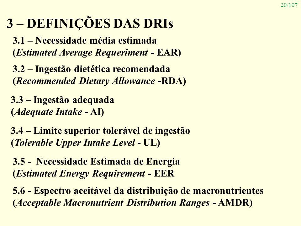 20/107 3 – DEFINIÇÕES DAS DRIs 3.1 – Necessidade média estimada (Estimated Average Requeriment - EAR) 3.2 – Ingestão dietética recomendada (Recommende