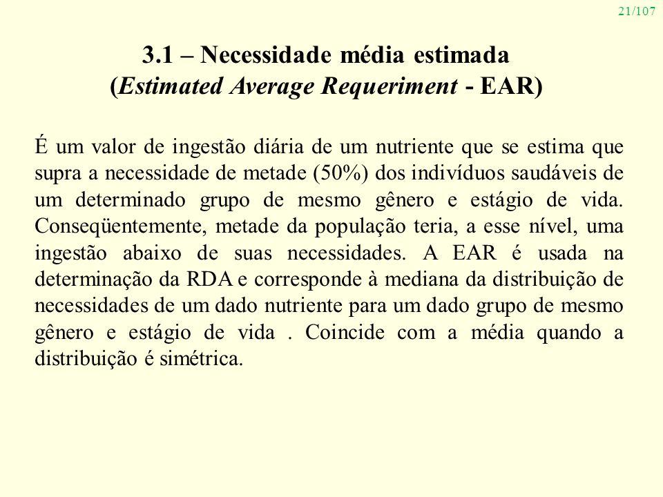 21/107 3.1 – Necessidade média estimada (Estimated Average Requeriment - EAR) É um valor de ingestão diária de um nutriente que se estima que supra a
