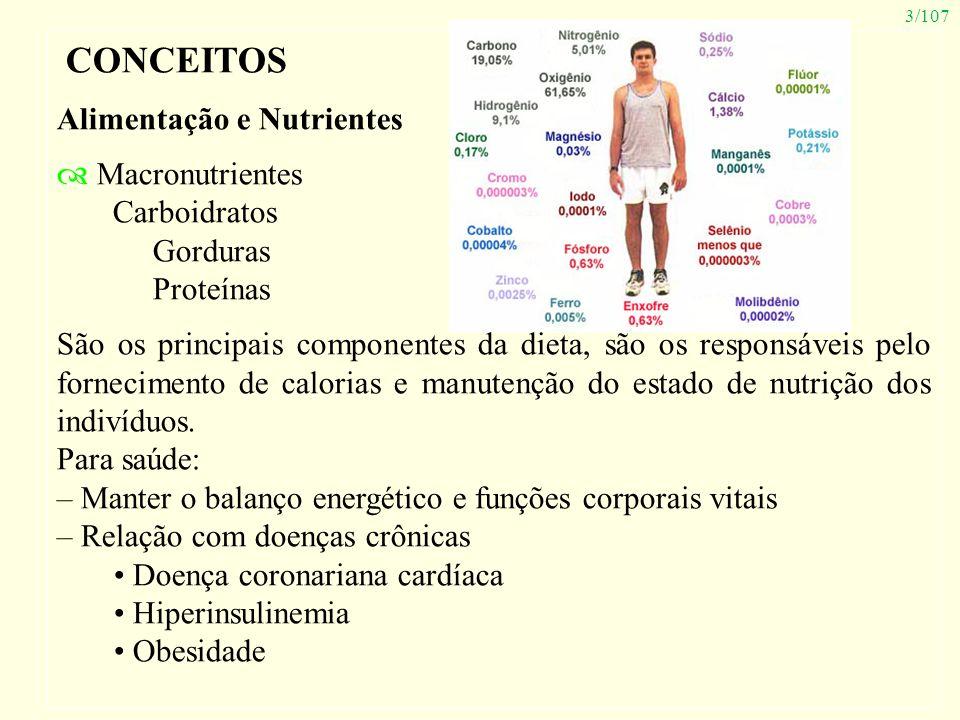 3/107 CONCEITOS Alimentação e Nutrientes Macronutrientes Carboidratos Gorduras Proteínas São os principais componentes da dieta, são os responsáveis p