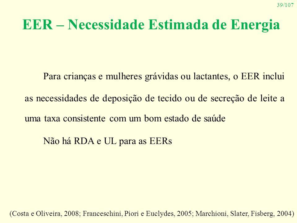 39/107 EER – Necessidade Estimada de Energia Para crianças e mulheres grávidas ou lactantes, o EER inclui as necessidades de deposição de tecido ou de