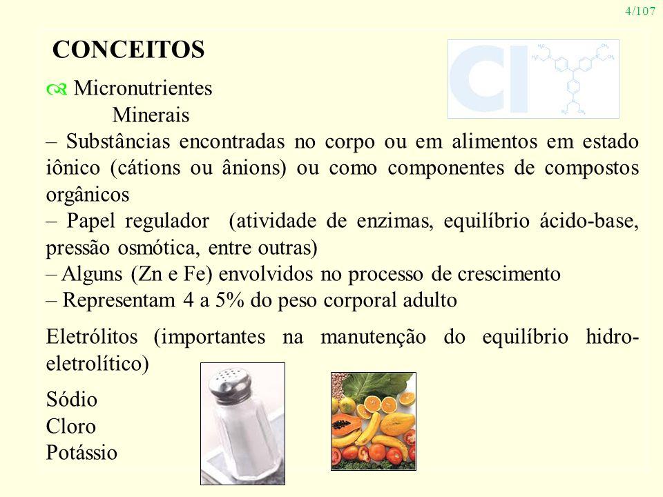 4/107 CONCEITOS Micronutrientes Minerais – Substâncias encontradas no corpo ou em alimentos em estado iônico (cátions ou ânions) ou como componentes d