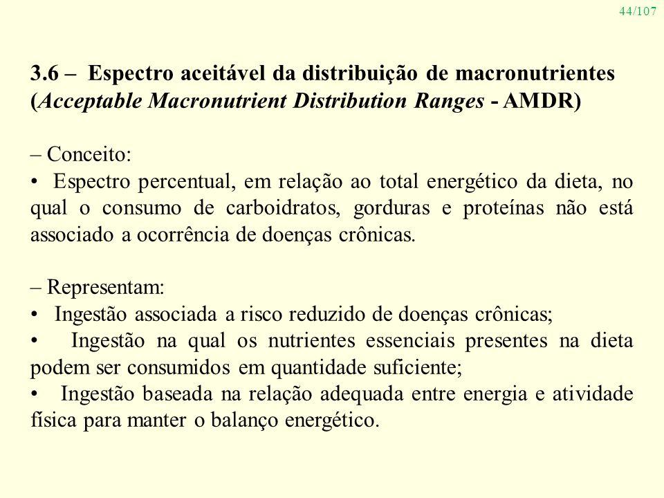 44/107 3.6 – Espectro aceitável da distribuição de macronutrientes (Acceptable Macronutrient Distribution Ranges - AMDR) – Conceito: Espectro percentu
