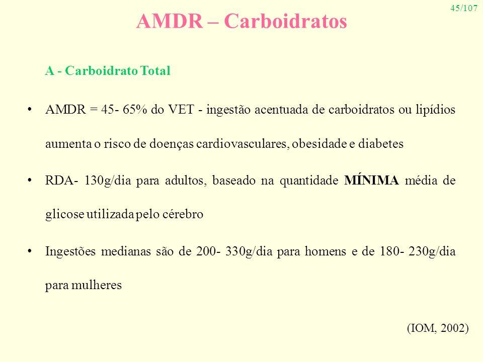 45/107 AMDR – Carboidratos AMDR = 45- 65% do VET - ingestão acentuada de carboidratos ou lipídios aumenta o risco de doenças cardiovasculares, obesida