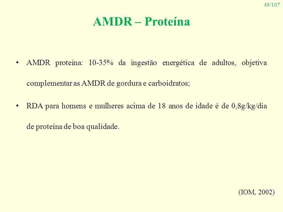 49/107 AMDR – Proteína AMDR proteína: 10-35% da ingestão energética de adultos, objetiva complementar as AMDR de gordura e carboidratos; RDA para home