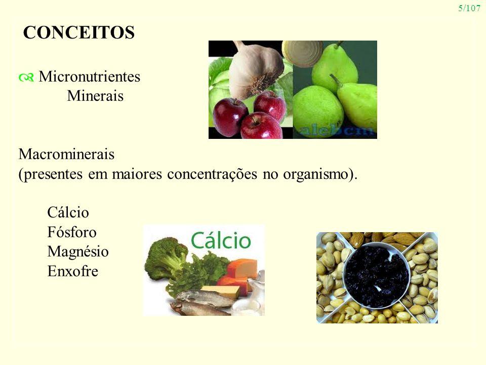 5/107 CONCEITOS Micronutrientes Minerais Macrominerais (presentes em maiores concentrações no organismo). Cálcio Fósforo Magnésio Enxofre