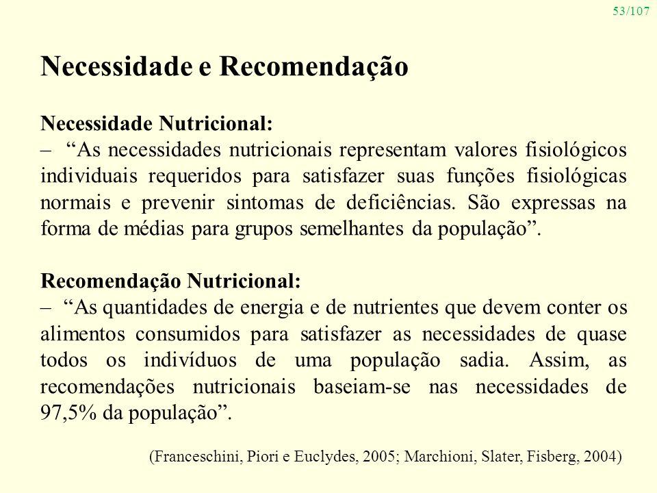 53/107 Necessidade e Recomendação Necessidade Nutricional: – As necessidades nutricionais representam valores fisiológicos individuais requeridos para