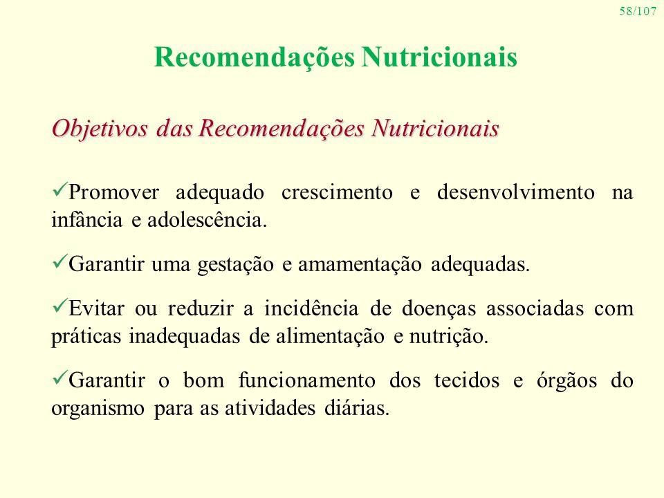 58/107 Recomendações Nutricionais Objetivos das Recomendações Nutricionais Promover adequado crescimento e desenvolvimento na infância e adolescência.