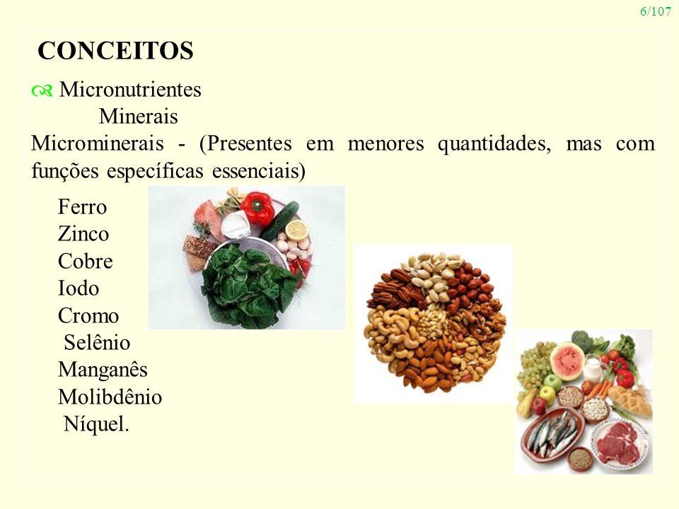 6/107 CONCEITOS Micronutrientes Minerais Microminerais - (Presentes em menores quantidades, mas com funções específicas essenciais) Ferro Zinco Cobre