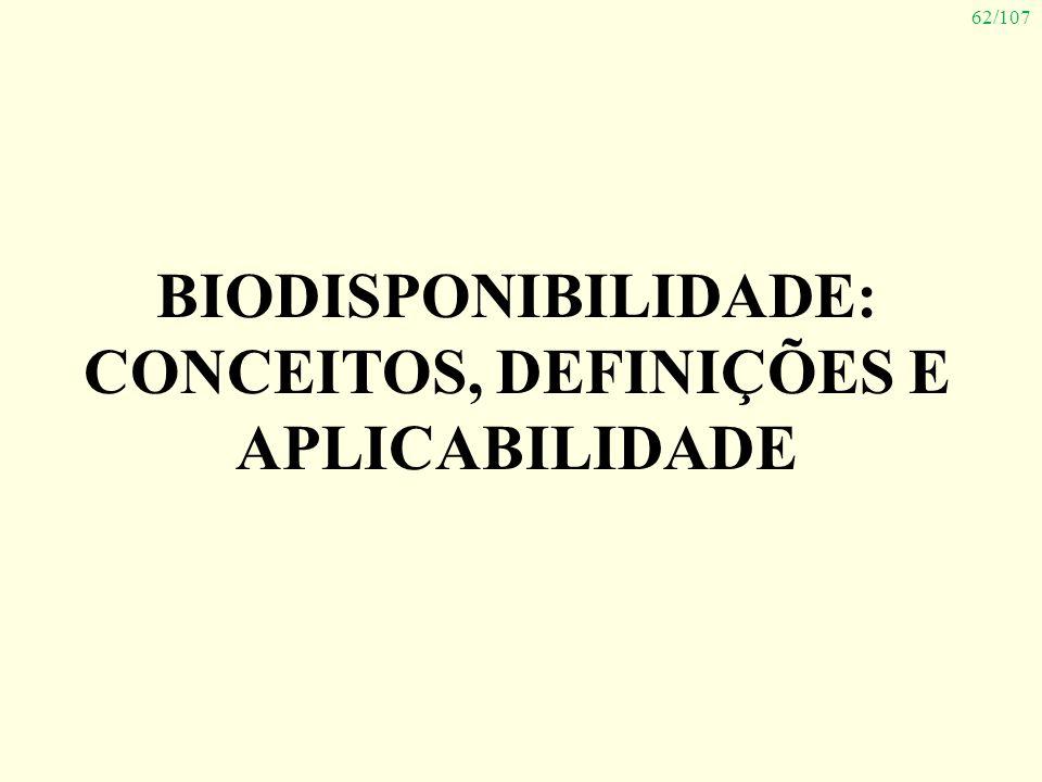 62/107 BIODISPONIBILIDADE: CONCEITOS, DEFINIÇÕES E APLICABILIDADE