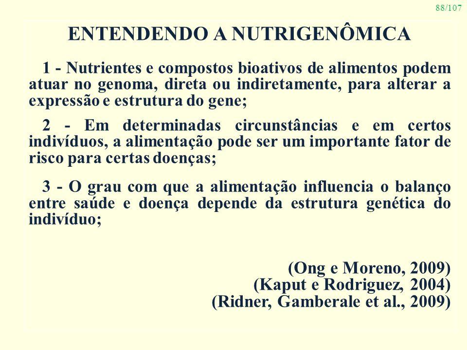88/107 ENTENDENDO A NUTRIGENÔMICA 1 - Nutrientes e compostos bioativos de alimentos podem atuar no genoma, direta ou indiretamente, para alterar a exp