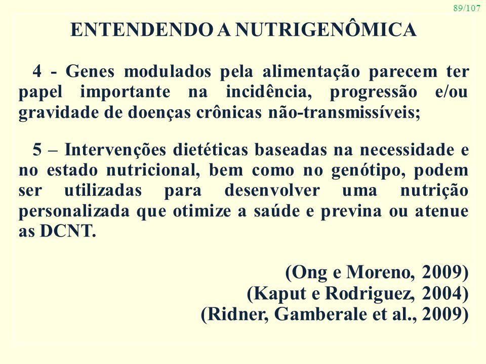 89/107 ENTENDENDO A NUTRIGENÔMICA 4 - Genes modulados pela alimentação parecem ter papel importante na incidência, progressão e/ou gravidade de doença