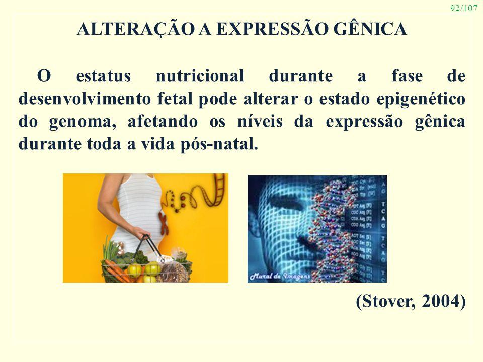92/107 ALTERAÇÃO A EXPRESSÃO GÊNICA O estatus nutricional durante a fase de desenvolvimento fetal pode alterar o estado epigenético do genoma, afetand