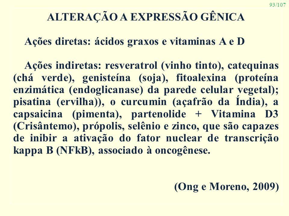 93/107 ALTERAÇÃO A EXPRESSÃO GÊNICA Ações diretas: ácidos graxos e vitaminas A e D Ações indiretas: resveratrol (vinho tinto), catequinas (chá verde),