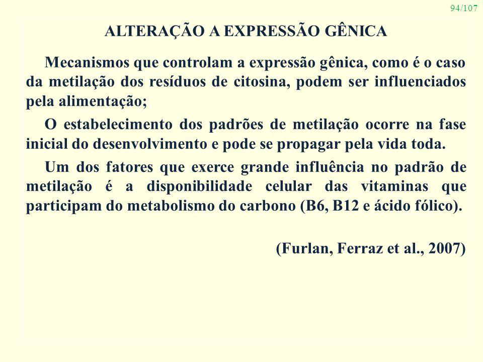 94/107 ALTERAÇÃO A EXPRESSÃO GÊNICA Mecanismos que controlam a expressão gênica, como é o caso da metilação dos resíduos de citosina, podem ser influe