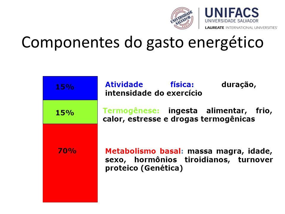 Componentes do gasto energético Atividade física: duração, intensidade do exercício Termogênese: ingesta alimentar, frio, calor, estresse e drogas ter