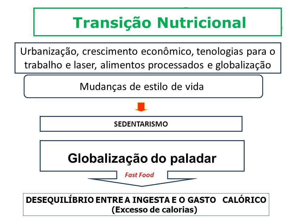 Transição Nutricional Urbanização, crescimento econômico, tenologias para o trabalho e laser, alimentos processados e globalização Mudanças de estilo