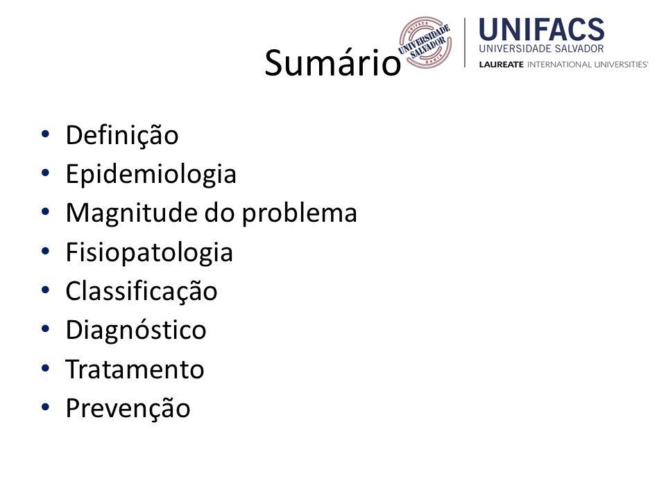 Sumário Definição Epidemiologia Magnitude do problema Fisiopatologia Classificação Diagnóstico Tratamento Prevenção