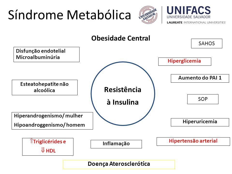 Síndrome Metabólica Hiperglicemia Disfunção endotelial Microalbuminúria Doença Aterosclerótica Hipertensão arterial Triglicérides e HDL Resistência à