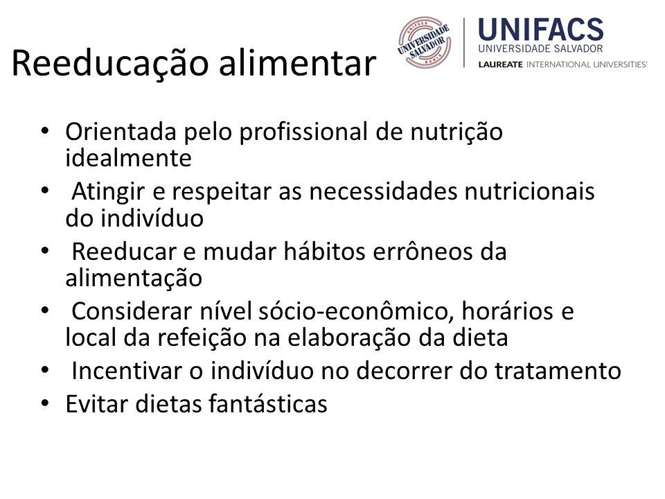 Reeducação alimentar Orientada pelo profissional de nutrição idealmente Atingir e respeitar as necessidades nutricionais do indivíduo Reeducar e mudar