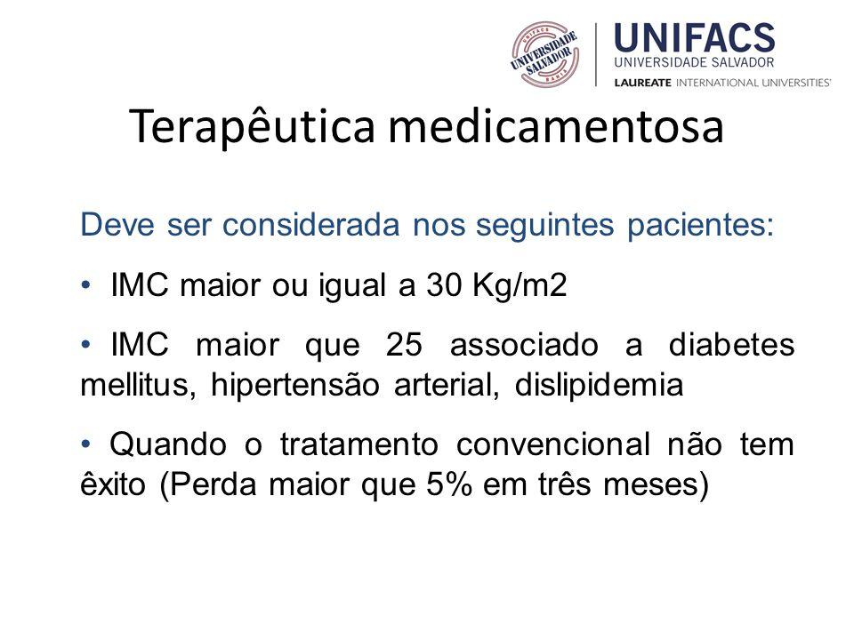Terapêutica medicamentosa Deve ser considerada nos seguintes pacientes: IMC maior ou igual a 30 Kg/m2 IMC maior que 25 associado a diabetes mellitus,