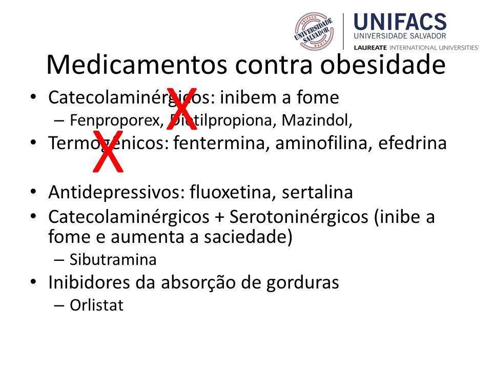 Medicamentos contra obesidade Catecolaminérgicos: inibem a fome – Fenproporex, Dietilpropiona, Mazindol, Termogênicos: fentermina, aminofilina, efedri