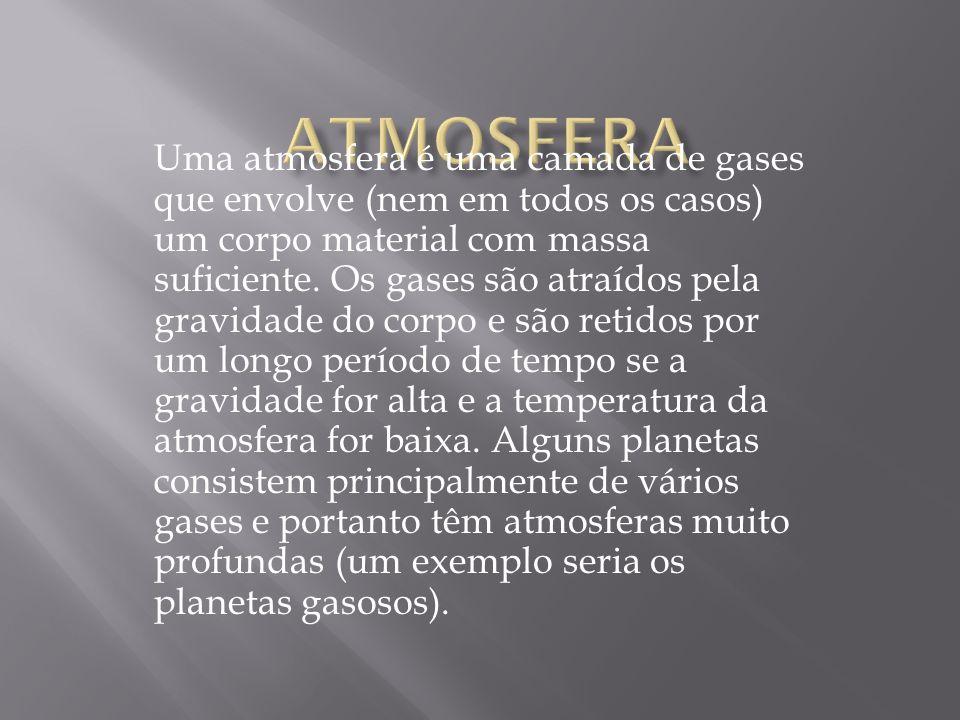 Uma atmosfera é uma camada de gases que envolve (nem em todos os casos) um corpo material com massa suficiente. Os gases são atraídos pela gravidade d