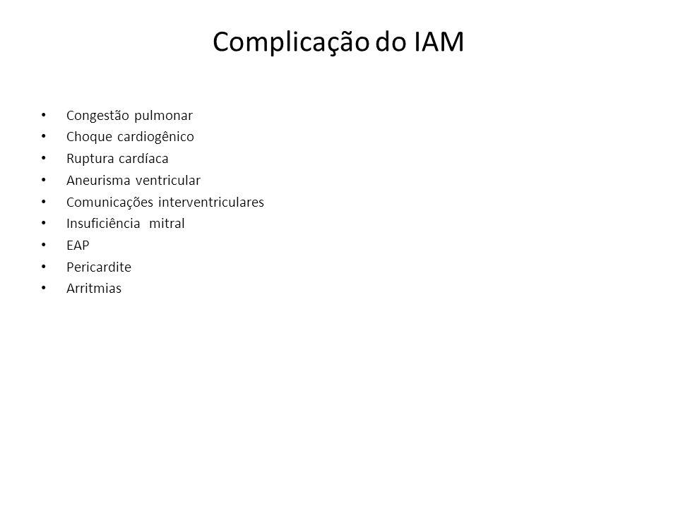 Complicação do IAM Congestão pulmonar Choque cardiogênico Ruptura cardíaca Aneurisma ventricular Comunicações interventriculares Insuficiência mitral