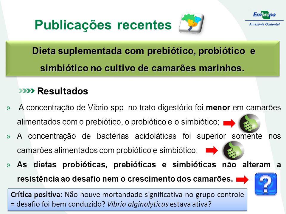 Publicações recentes Dieta suplementada com prebiótico, probiótico e simbiótico no cultivo de camarões marinhos.