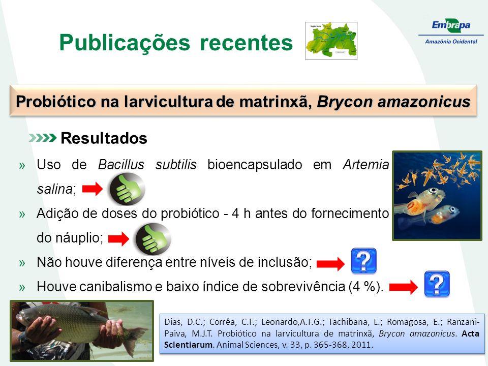 Publicações recentes Probiótico na larvicultura de matrinxã, Brycon amazonicus Dias, D.C.; Corrêa, C.F.; Leonardo,A.F.G.; Tachibana, L.; Romagosa, E.; Ranzani- Paiva, M.J.T.