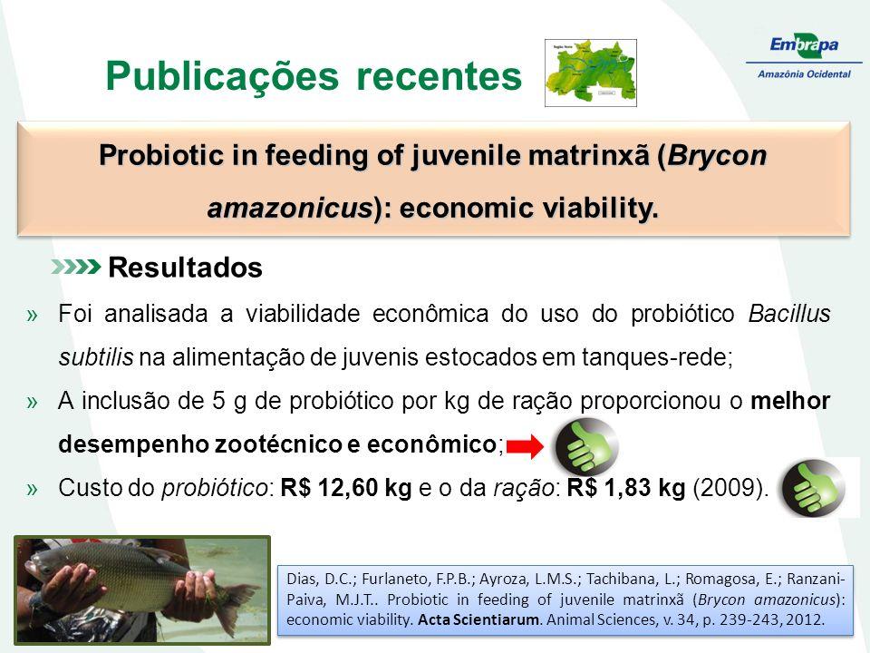 Publicações recentes Probiotic in feeding of juvenile matrinxã (Brycon amazonicus): economic viability. Dias, D.C.; Furlaneto, F.P.B.; Ayroza, L.M.S.;
