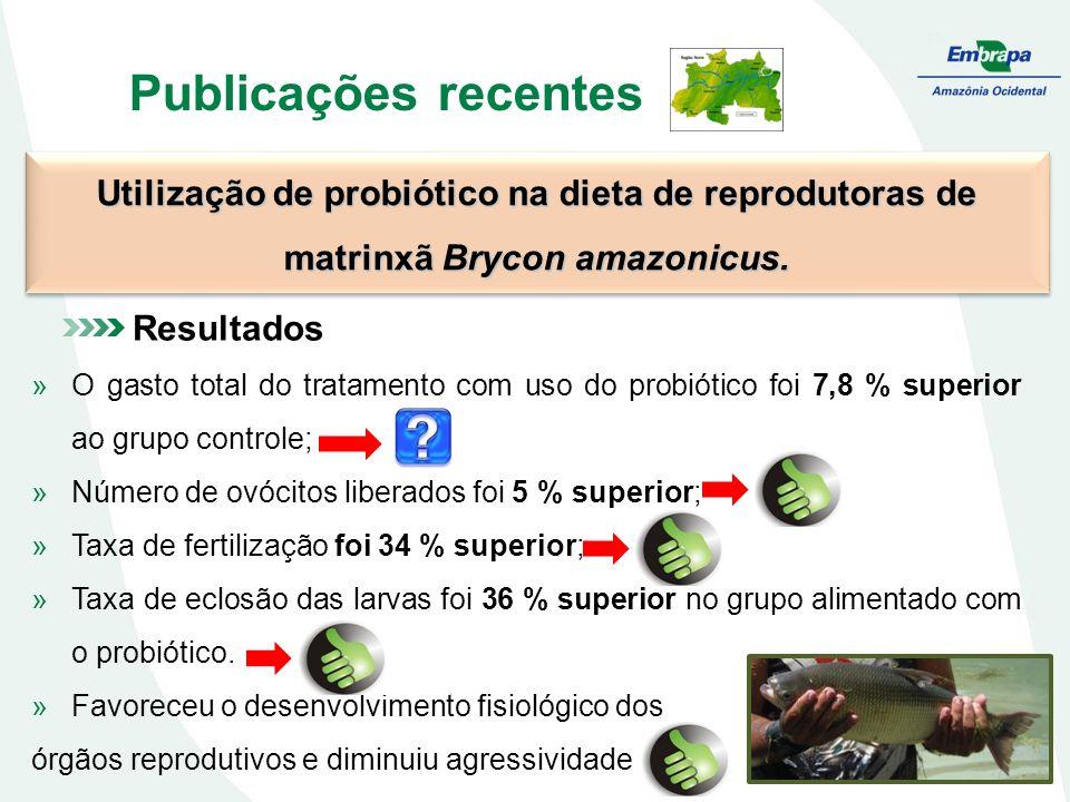 Publicações recentes Utilização de probiótico na dieta de reprodutoras de matrinxã Brycon amazonicus. Resultados »O gasto total do tratamento com uso