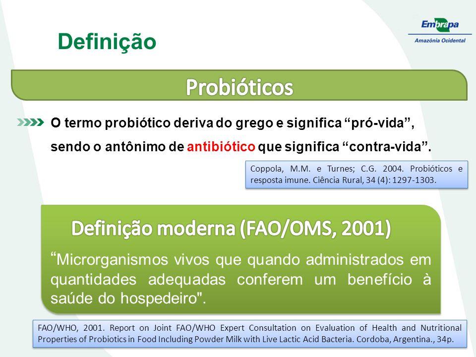 Definição O termo probiótico deriva do grego e significa pró-vida, sendo o antônimo de antibiótico que significa contra-vida. Microrganismos vivos que